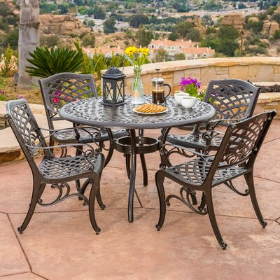 Albermarle 5 Piece Cast Aluminum Dining Set