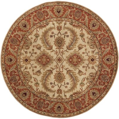 Arcadia Hand-Tufted Red/Brown Area Rug Rug Size: Round 8