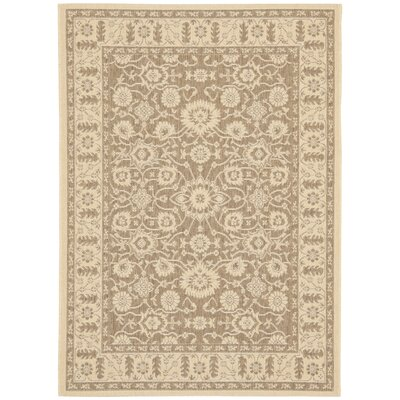 Beasley Flowers Brown/Creme Outdoor Rug Rug Size: Rectangle 27 x 5