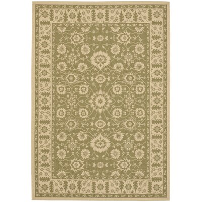Beasley Olive/Creme Outdoor Area Rug Rug Size: Rectangle 27 x 5