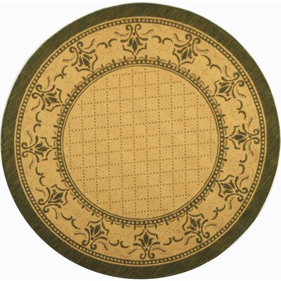 Beasley Natural/Olive Outdoor Rug Rug Size: Round 67