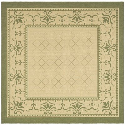 Beasley Natural/Olive Outdoor Rug Rug Size: Square 710