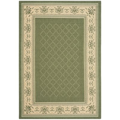 Beasley Olive/Natural Outdoor Area Rug Rug Size: 53 x 77