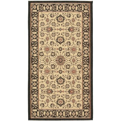 Beasley Black/Creme Outdoor Area Rug Rug Size: Runner 27 x 5