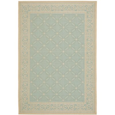 Beasley Aqua/Cream Indoor/Outdoor Rug Rug Size: Rectangle 53 x 77