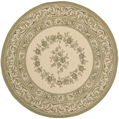 Beasley Cream/Green Outdoor Rug Rug Size: Round 53