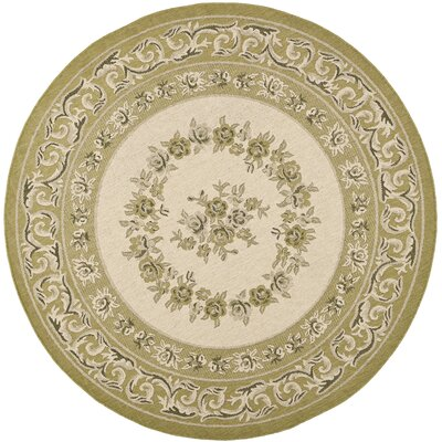 Beasley Cream/Green Outdoor Rug Rug Size: Round 67