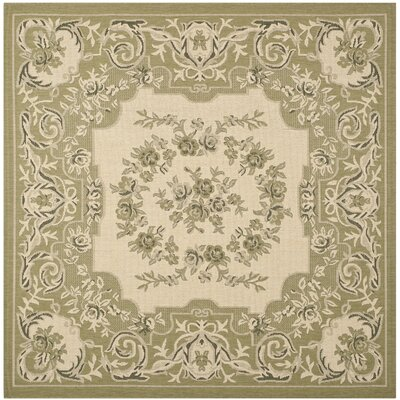 Beasley Cream/Green Outdoor Rug Rug Size: Square 67