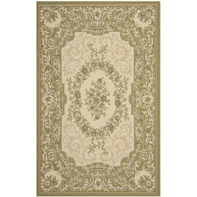 Beasley Cream/Green Outdoor Rug Rug Size: Runner 27 x 5