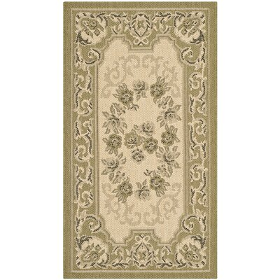 Beasley Cream/Green Outdoor Rug Rug Size: Rectangle 27 x 5