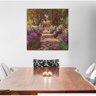 'A Pathway in Monet's Garden' by Claude Monet Painting Print on Wrapped Canvas Size: 37