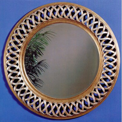 Round Champagne Leaf Wood Wall Mirror