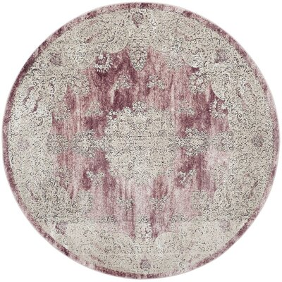 Prager Rose/Beige Area Rug Rug Size: Round 67 x 67