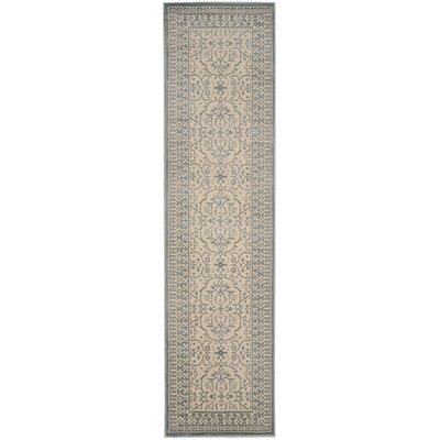 Roma Cream / Sage Area Rug Rug Size: Runner 22 x 8