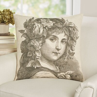 Correa Girl Portrait Linen Throw Pillow