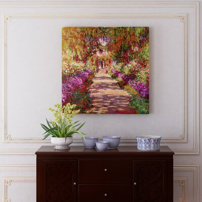 'A Pathway in Monet's Garden' by Claude Monet Painting Print on Wrapped Canvas Size: 12