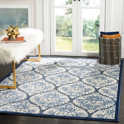 San Michele Blue/Cream Indoor/Outdoor Area Rug Rug Size: 3'3