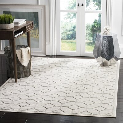 Parsons Light Gray/Cream Outdoor Area Rug Rug Size: Rectangle 4 x 6