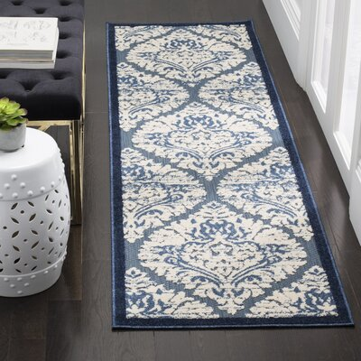 Parsons Blue/Cream Indoor/Outdoor Area Rug Rug Size: 3'3
