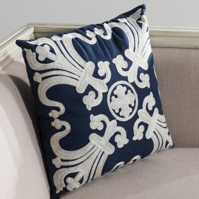 Goodrum Cotton Throw Pillow Size: 22 H x 22 W x 2.5 D, Color: Navy Blue