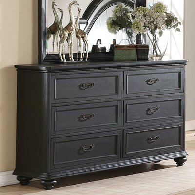 Broad Brook 6 Drawer Double Dresser Color: Raven Black