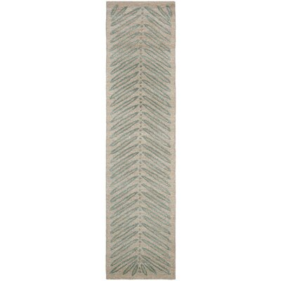 Chevron Leaves Hand-Tufted Blue Fir Area Rug Rug Size: Runner 23 x 10