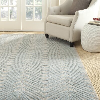 Chevron Leaves Hand-Tufted Blue Fir Area Rug Rug Size: 26 x 43