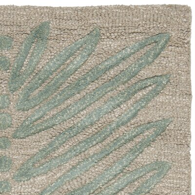 Chevron Leaves Hand-Tufted Blue Fir Area Rug Rug Size: 4 x 6