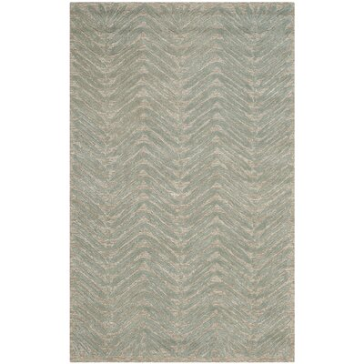 Chevron Leaves Hand-Tufted Blue Fir Area Rug Rug Size: 5 x 8