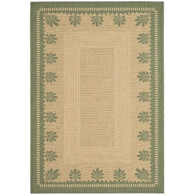 Palm Border Sand / Green Area Rug Rug Size: 53 x 77