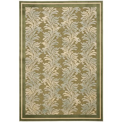 Plume Stripe Hand-Loomed Green Area Rug Rug Size: 53 x 76