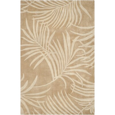 Palmnue Hand-Hooked Beige Area Rug Rug Size: 2 x 3