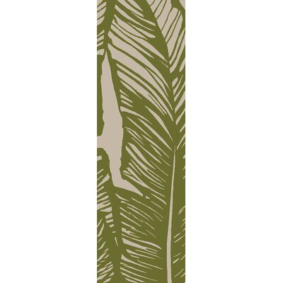Rhianna Hand-Hooked Green Indoor/Outdoor Area Rug Rug Size: Runner 26 x 8
