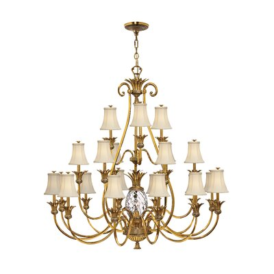 Terry 21-Light Shaded Chandelier Finish: Burnished Brass