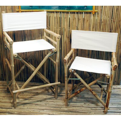 Porter High Back Canvas/Bamboo Director Chair (Set of 2)