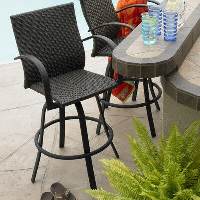 Antigua 29 Bar Stool Seat Color: Dark Brown Leather