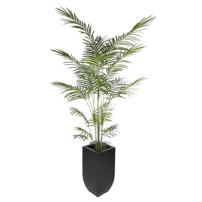 Artificial Areca Palm Tree Floor Plant in Planter Base Color: Black
