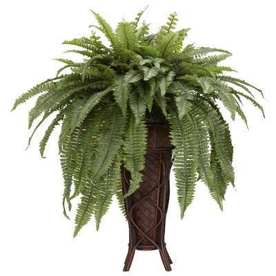 Boston Fern Stand Silk Floor Plant in Decorative Vase