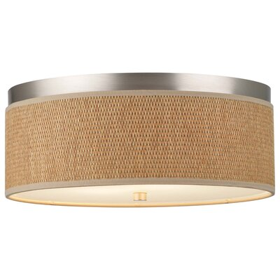 Mccoy 2-Light Flush Mount Shade Color: Natural Grasscloth, Bulb Type: Fluorescent