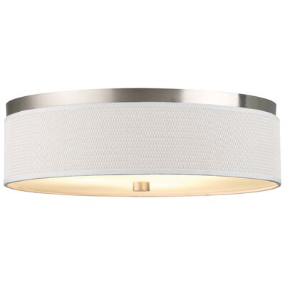 Mccoy 3-Light Flush Mount Shade Color: White Grasscloth, Bulb Type: Incandescent