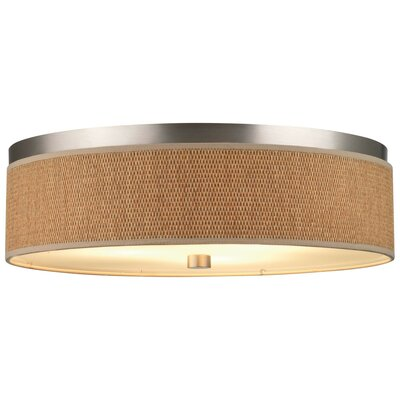 Mccoy 3-Light Flush Mount Shade Color: Natural Grasscloth, Bulb Type: Fluorescent
