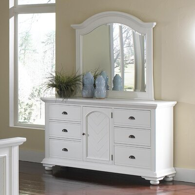 Corbel 6 Drawer Combo Dresser and Mirror Set Finish: White