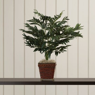 Silk Bamboo Palm Floor Plant in Decorative Vase