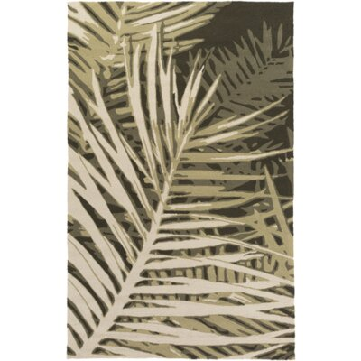 Fort Hand-Tufted Olive Forest/Beige Indoor/Outdoor Area Rug Rug Size: 5 x 76
