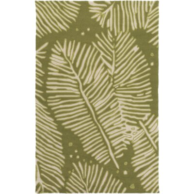 Acosta Hand-Tufted Olive/Ivory Indoor/Outdoor Area Rug Rug Size: Rectangle 5 x 76