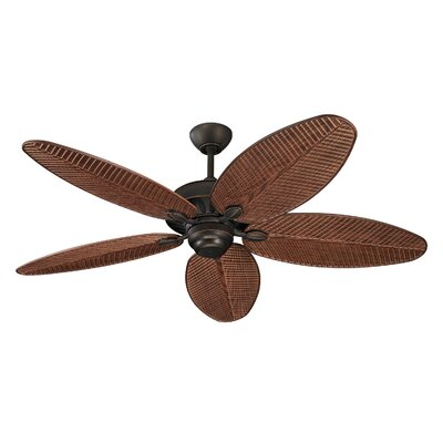 52 Kateri 5-Blade Outdoor Ceiling Fan Color: Roman Bronze with Walnut Blades