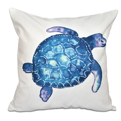 Granata Sea Turtle Animal Print Throw Pillow Size: 16 H x 16 W, Color: White