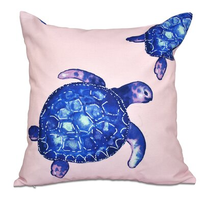 Granata Turtle Tales Animal Print Throw Pillow Size: 18 H x 18 W, Color: Pink