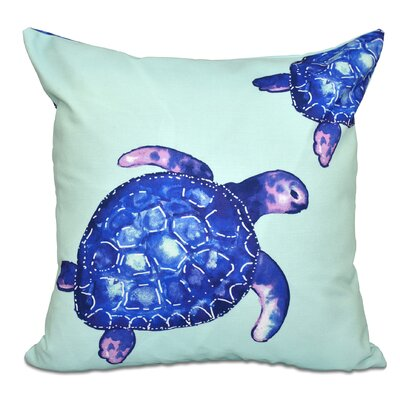 Granata Turtle Tales Animal Print Throw Pillow Color: Aqua, Size: 26 H x 26 W