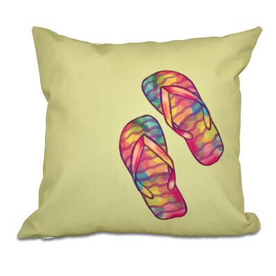 Granata Rainbow Flip Flops Geometric Print Throw Pillow Size: 26 H x 26 W, Color: Green